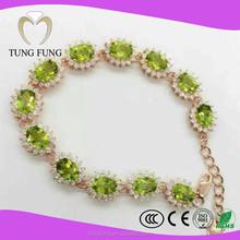Hong Kong Jewelry Wholesale Gemstone 925 Sterling Silver Peridot Bracelet