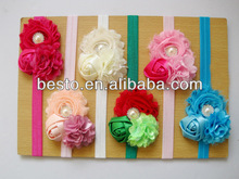 OEM Factory wholesale cute high quality fashion bead center mesh shabby elastic kids flower headband,hair accessories