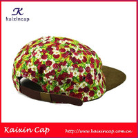 OEM 5/Five Panel Camper Cap/Hats Leather Back Enclosure Cap Flower Fabric 5 Panel Caps/Hats