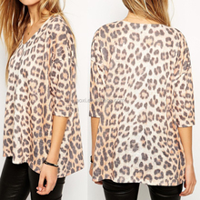 Leopard long sleeves sexy top wholesale price charming women top
