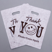 die-cut handle t shirt grocery store carrt out thank you plastic shopping bag