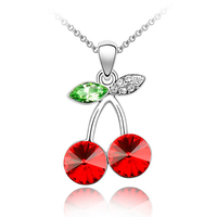 Free shipping gift sweet cherry swarovski element crystal jewelry necklace