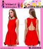 Bright Red Evening Dress Turkey Knee Length Sleeveless Evening Dress Turkey