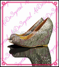 Aidocrystal open toe handmade sparkling silver transparent crystal wedge shoes for ladies