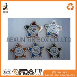 tourism star shape metal OEM design tin button badge pack , round tin metal badge set tin tourism badge tin magnet fridge