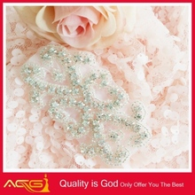 BEST SELLER rhinestone applique/beaded applique wedding belt bright clear embroidered patch with adhesive back