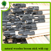 22 cm diameter natural wooden broomsticks wood pole with black cap