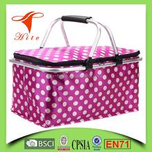 Foldable Insulated Cooler Picnic Basket Bag (pink) with Double Handles/large size cooler basket bag