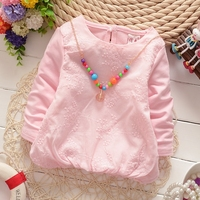 DG016 autumn necklace gift solid color embroidered flower girl t-shirt