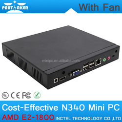 4G RAM 512G SSD Mini Desktop PC Case with Fan 1.7Ghz CPU RJ45 HD VGA COM Wifi Support