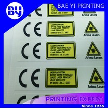 Yellow Vinyl Square Warning label with UV Resistant