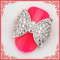 RG037 Alloy Zircon Stone Decoration Nail Bow Rhinestone Swarovski Nail Art