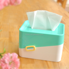 eco-friendly mini plastic decorate Square tissue box