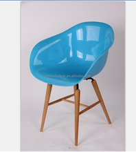 Eames style plastic shell dining room chair with wood legs