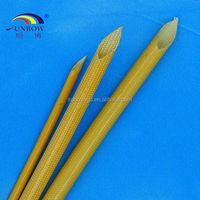Amber color Polyurethane / varnished PU galssfiber sleeving