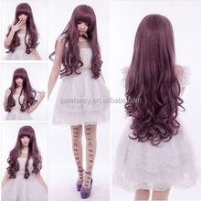 Fashion Anime Long wavy Hair Night Club Girl Lolita Cosplay Party Ash purple Wig QPWG-2040