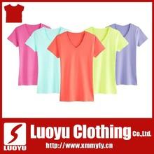 2015 Spring Fashion soft V-neck T-shirt for Women