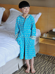 Printed terry cotton hooded long bath gown for kids design