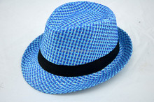 Wholesale cool paper fedora hat in blue color with black ribbon