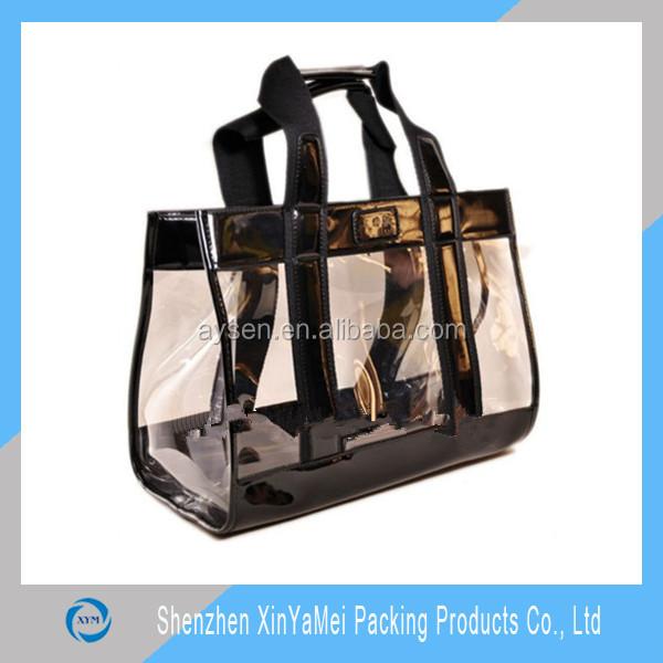 New standard size custom printed plastic tote bag for make up