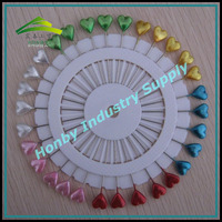 Plastic Crafts Making Glossy Assorted Colors 55mm Heart Shaped Head Steel Pin In Wheel Packing