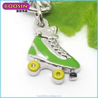 wholesale new design charm pendnat, Girl/Boy Light green skate pendant