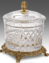Luxury Crystal Lidded Jar, With Brass Footed Base And Decoration, Home Decorative Art & Craft, MOQ:1 Piece