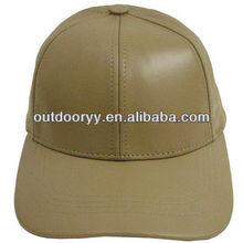 custom plain fitted brown mens leather strap brim baseball cap wholesale