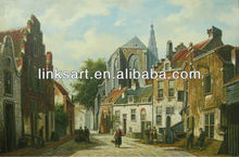 Old europe street oil painting,classical England street painting