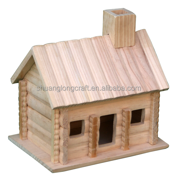 Wholesale miniature wood crafts houses unfinished wooden for Mini wooden house
