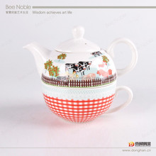tea mug with pot and saucer porcelain factory directly made in china,