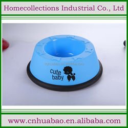 Wholesale Hot Sale puppy printed Cheapest Cute plastic Dog Feeder Bowl with rubber ring