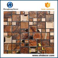 Flower pattern design mosaic tile parquet high quality glass mosaic tile new design