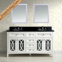 60 inch big vanity combo bathroom vanity with galaxy black granite counter-top