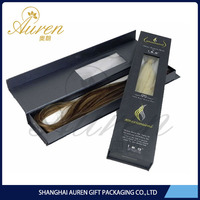 Fashion design paper folding rigid boxes for beautiful hair extension China made with clear window