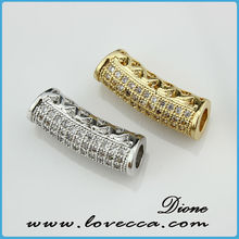 High quality CZ micro pave copper tube spacers,Cubic Zirconia pave bar tubes