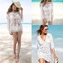 2015 Best seller ladies lace deep V swimwear Bikini cover ups sexy women chiffon beach dress