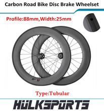 Hk-wh-88t-w25-d de disco de frenos carretera 700c 88 mm Tubular del camino del carbón de la bicicleta ruedas carbon Road bike ruedas con 23 mm ancho
