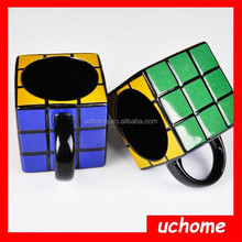 UCHOME New Novelty Rubik's Colorful Design Ceramic Mug,Cube Coffe Mug