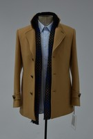 Korean Style High Quality Men Khaki Wool Cashmere Overcoat Trench Coat