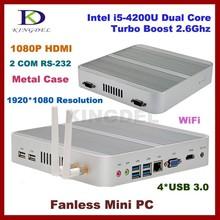 8GB RAM+64G SSD+500G HDD core i5 4200u fanless mini pc desktop computer,Intel HD 4400 Graphics,2*COM RS232,4*USB 3.0,4K HD