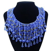 New Vintage Blue Pearl & Crystal Beads Luxury Choker Statement Necklaces for Women