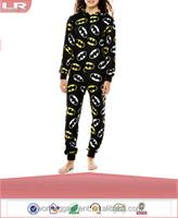 OEM Adult Long-Sleeve One-Piece Hooded Pajamas/Polyester Onesie Jumpsuit