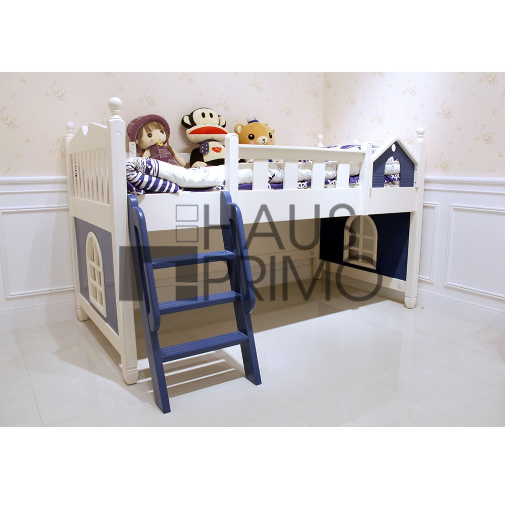 Kids White Wooden Low Loft Bed