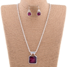 Top selling 2015 latest design jewelry sets, rich burgundy red simple diamond necklace sets