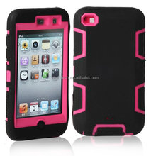 Deluxe High Impact Hybrid Hard Soft Case Cover For iPod Touch 4