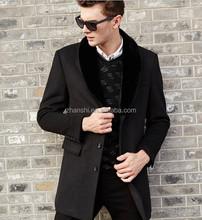 2015 Fashion Dress Winter Designs Slim Mens BLack Wool Coats With Fur Collar