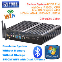 Hot selling intel core i7 mini pc , fanless instrial mini computer, dual core 1.8Ghz,up to 3.0Ghz,barebone system 4500U