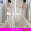 ST940 Fashionable Illusion Neckline Appliqued Covered Long Sleeve And Back White Colored Bridal Wedding Dresses In Dubai