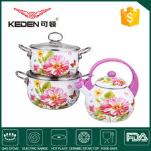 3-layer White Coated Enamel Pot and Kettle Cookware Set